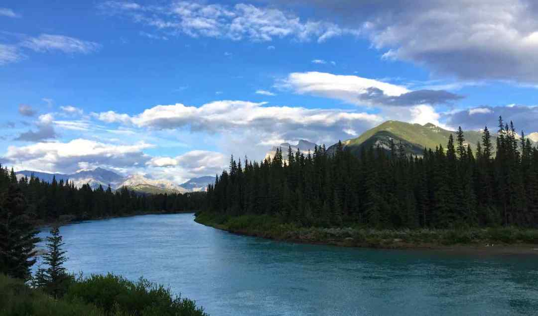 Bow River, Alberta seen from Rocky Mountaineer train | www.rtwgirl.com