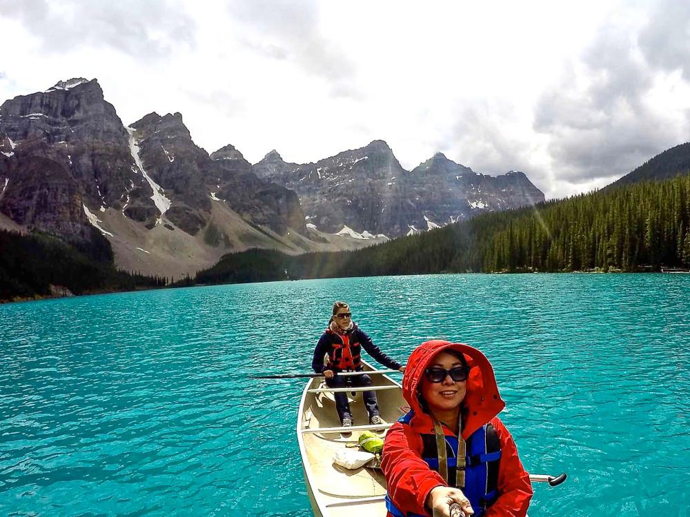 Moraine Lake Canoeing GoPro Selfie | www.rtwgirl.com