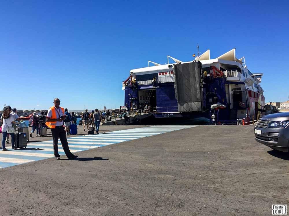 Morocco ferry loading in Tarifa