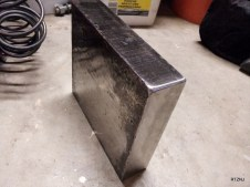 Made some nice smooth surfaces to pound on. The top face was the first surface I ground on and was more concerned about keeping it flat than to completely eliminate the cut markings. I was also still getting used to how aggressive my grinder worked and didn't want to unduly gouge or scratch the steel.