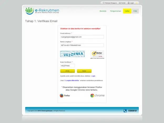 Rekrutmen BPJS Ketenagakerjaan - 1 Verifikasi Email
