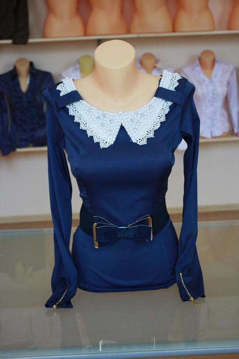 Блуза женская 1233 темно-синий цвет