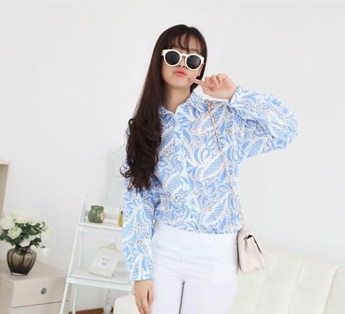 Блузка женская 171730 голубой цвет