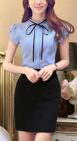Блузка женская 171742 голубой цвет