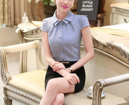 Блуза женская 171743 голубой цвет