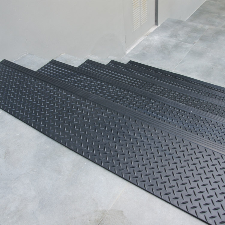 """Diamond Plate Commercial"""" Rubber Stair Treads 6 Packs   Exterior Rubber Stair Treads   Solid Weathered   Luxury Vinyl Stair   14 Inch Deep   Vinyl Covered   Pattern"""