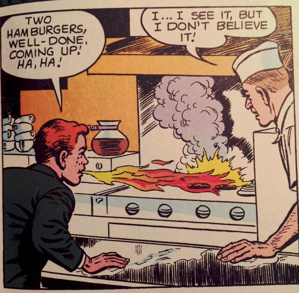 Anyone want a hamburger? I cooked them with my breath!