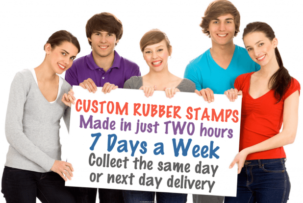 Speedy Rubber Stamps supply custom rubber stamps in 2 hours, 7 days a week. That's why, we're the #1 Speedy Rubber Stamps supplier in Birmingham. Our stamps are VAT Free and we offer a whopping 50% discount when you order two, or more, any size.