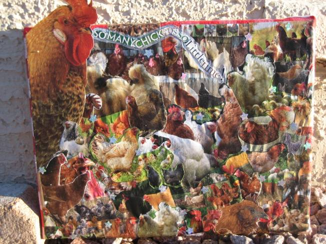 "This collage, ""Chicken Tractor"" is currently part of the show So Many Chickens, So Little Time a the Sun Gallery in Truth or Consequences, NM. It is priced at $65. If it doesn't sell at the show, I will be willing to reduce the price. There is an additional $10 shipping charge. The piece is approximately 13"" x 15"". It consists of a cloth napkin stapled to a canvas with paper collaged onto the napkin. There are also sparkly stars scattered over the collage. You can read about ""Chicken Tractor"" here: http://www.rubbertrampartist.com/2016/05/03/so-many-chickens-so-little-time/.)"