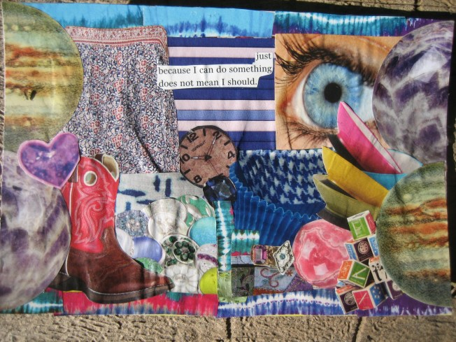 "The last new collage is called ""Just Because I Can."" It is also approximately 4"" x 6"", paper on a reused postcard. The price is $15, including postage."