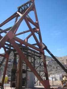 This photo shows the Audrey Headframe, the largest wooden headframe still standing in Arizona.
