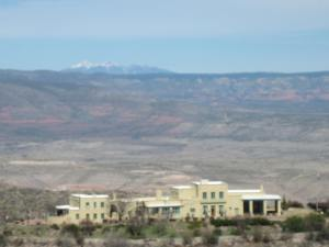 Douglas Mansion Museum in the Jerome Historic Park, seen from a distance