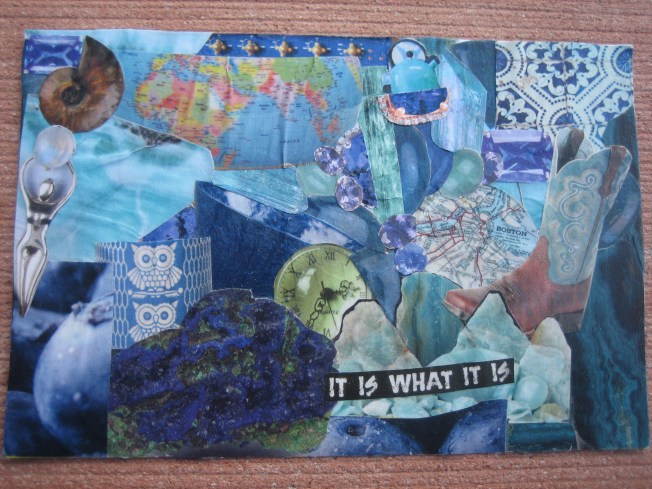 "This collage is called It Is What It Is. It is 4"" x 6"" and is made from a postcard about to go in the recycling bin and little bits of paper. The price is $20, including shipping."