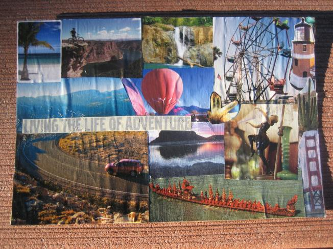 "This collage is called Living the Life of Adventure and is made from paper on a postcard snatched from the recycling bin. The size is 6"" x 4,"" and the cost is $15, including postage."