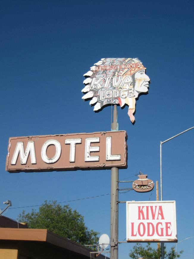 The folks who named this hotel didn't know--or didn't care--that kivas are used religiously and people from the Pueblo tribes don't wear feather headdresses.