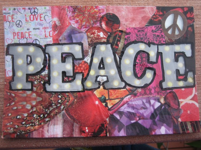 "This collage is called Peace. It was made on a salvaged postcard and is 4"" x 6."" The cost is $20, including postage."