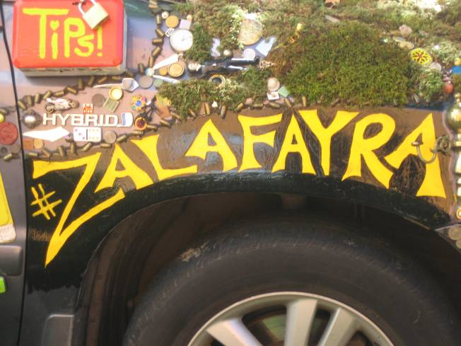 "An area on car above tire spelled out in bright yellow ""#Zalafayra."" Car is decorated with green moss and many tiny little things."