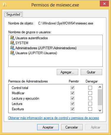 Problemas con Windows Installer 5.0 en Windows 8 de 64 bits