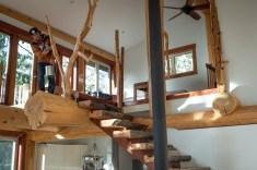 Spalted Maple Stairwell, Old Growth cedar railings