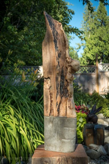 Heal over maple off cut fused to concrete to create a sculpture or a shelf.