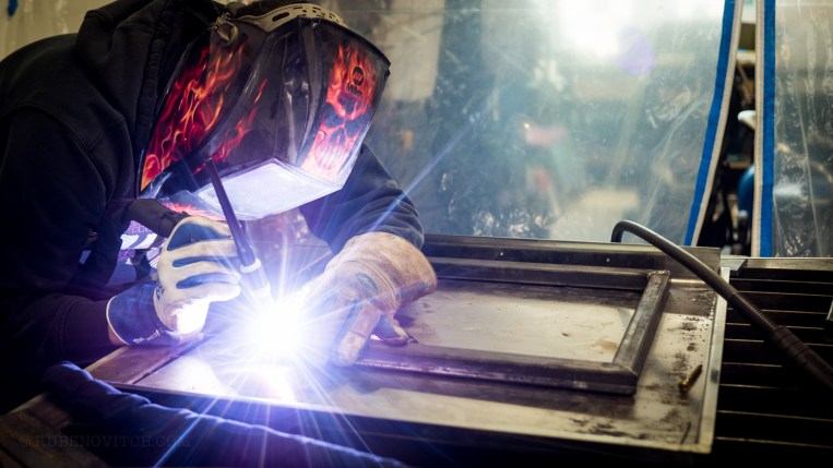 "Weld: ""unite or consolidate by hammering or compression, often after softening by heating,"""