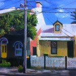 Painting of traditional inner Sydney terraces, by Australian artist Rubi Cassidy
