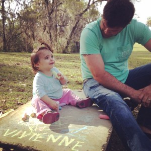 Chalk with Daddy, she adores him.