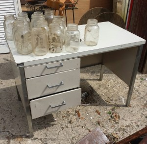 The desk at the secondhand store.