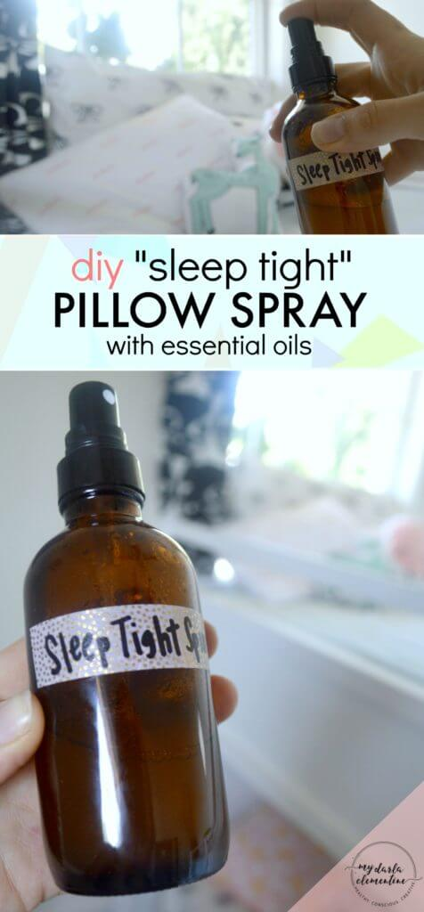 "This DIY ""Sleep Tight"" natural pillow spray uses calming essential oils and natural ingredients to improve sleep quality & promote feelings of calm, rest, and relaxation. Also includes tips on which essential oils are safe for kids, and which essential oils are best for relaxation and stress relief."