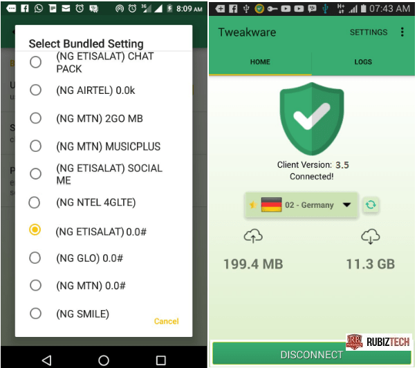 Tweakware vpn now supports Etisalat 0.0K