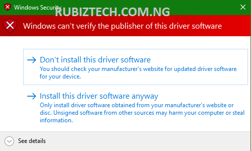 Install this driver software anyway