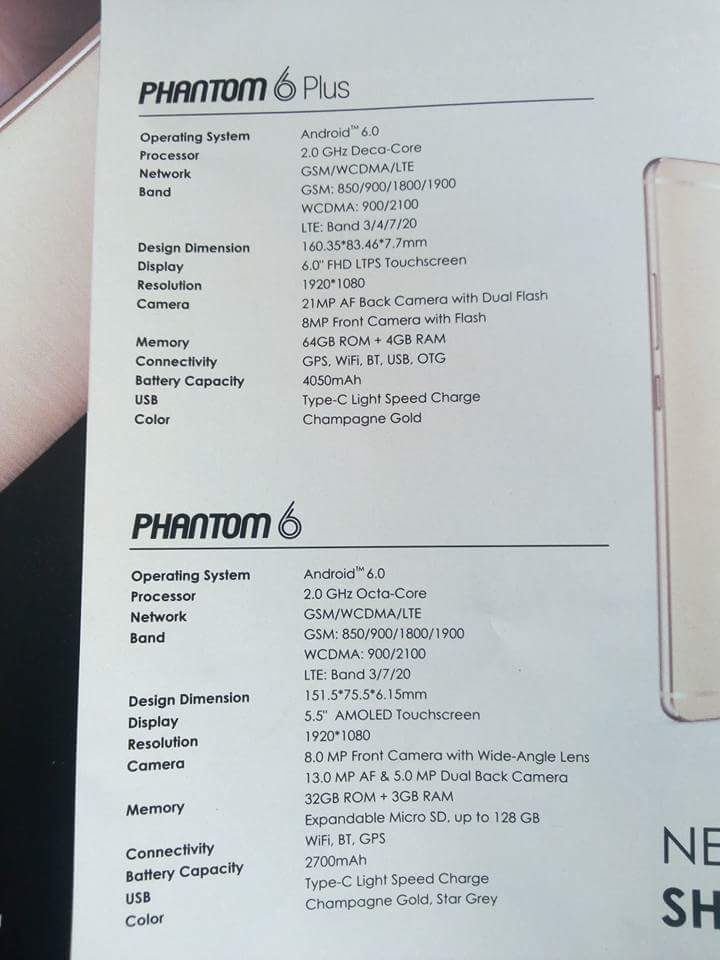 Tecno Phantom and Phantom 6 plus specifications