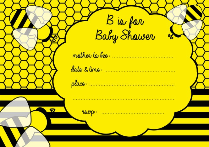 Free Ble Bee Baby Shower Invitation Party
