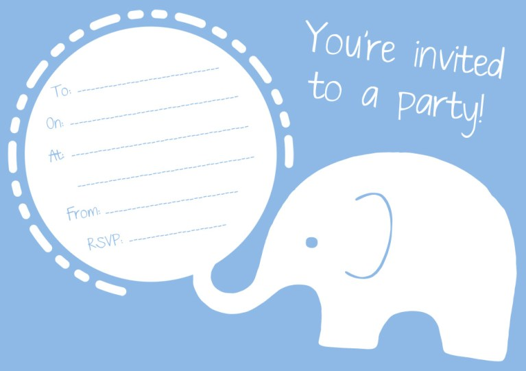 FREE Blue Elephant Party Invitation