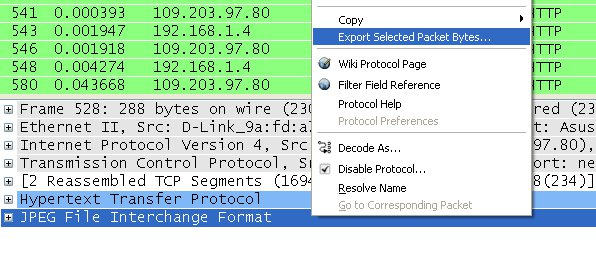 extract files from pcap