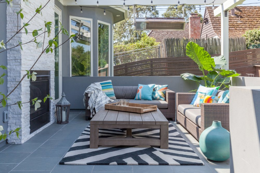Bold patterns liven this outdoor area.