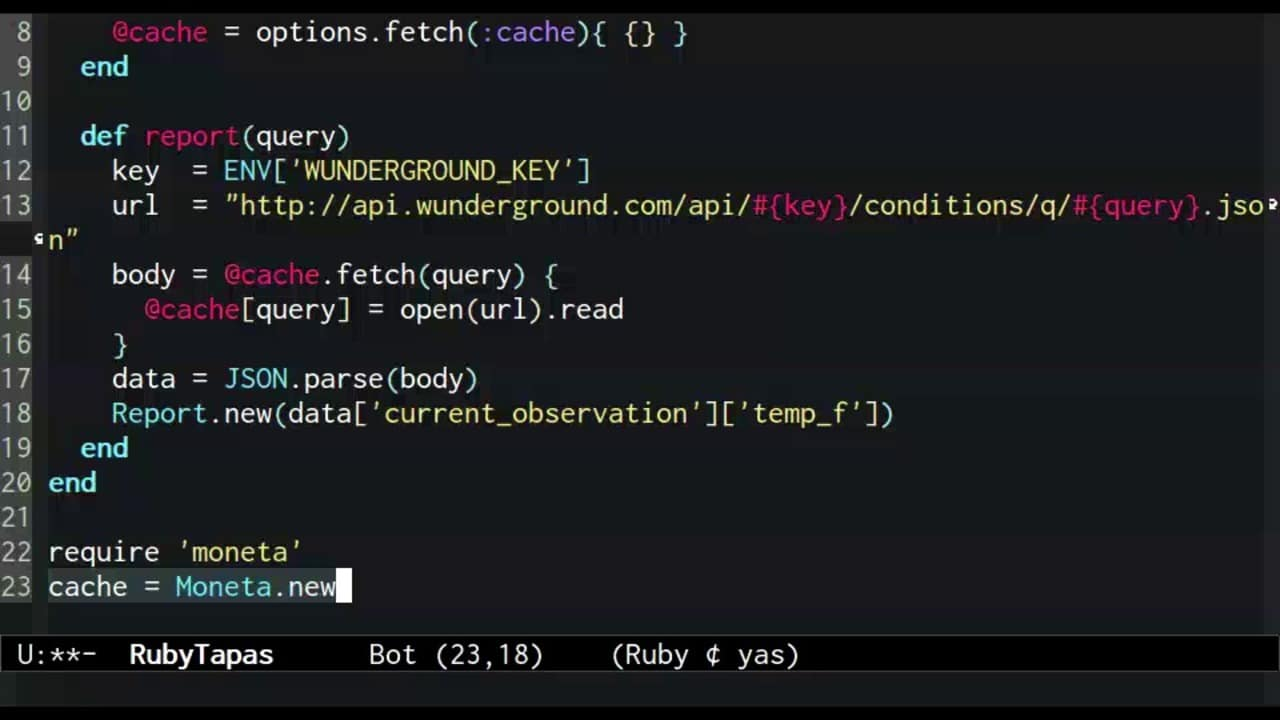 Screenshot from screencast on caching in key-value stores with Moneta