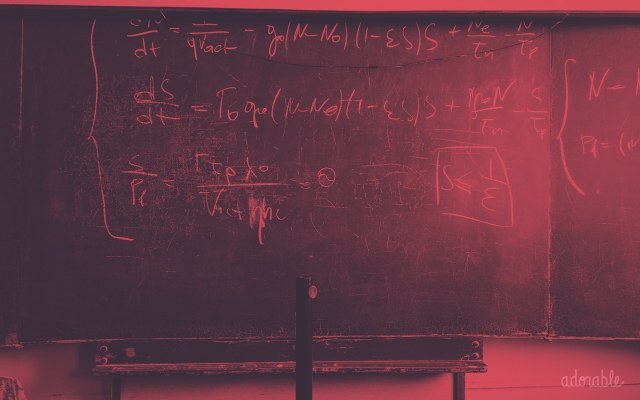 A blackboard with Math equations