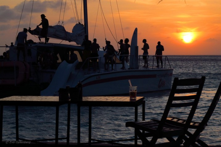 Aruba solnedgång vid Palm Beach