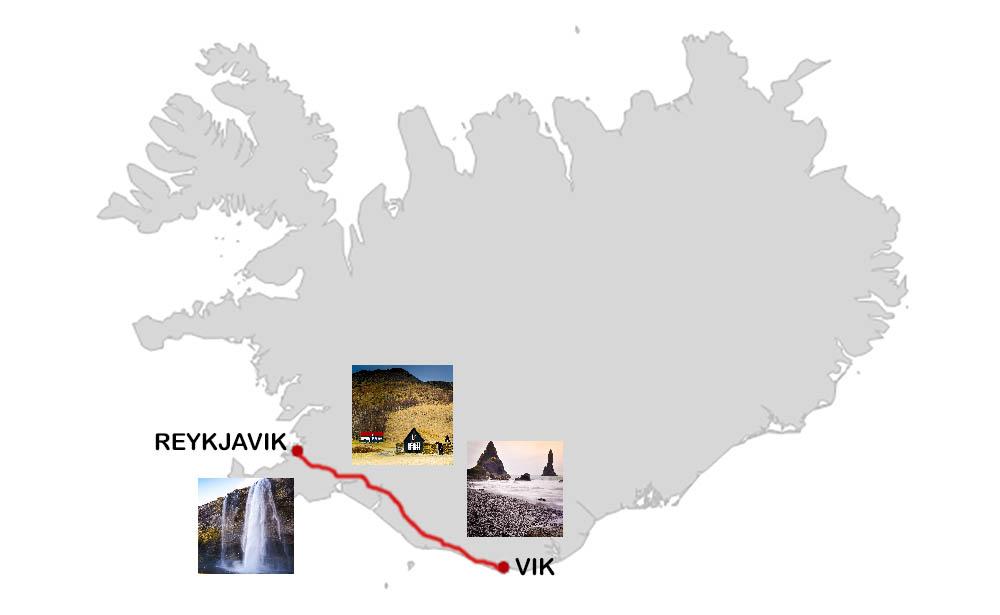 Karta över dagsutflykt från Reykjavik till Vik