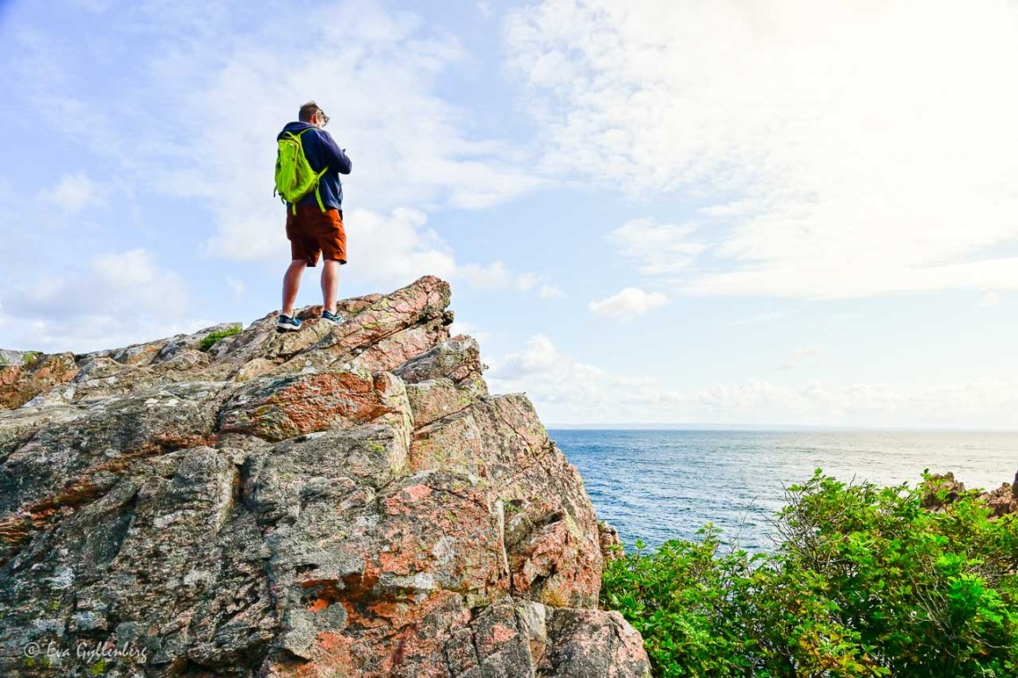 Man standing on cliff and looking out over the sea