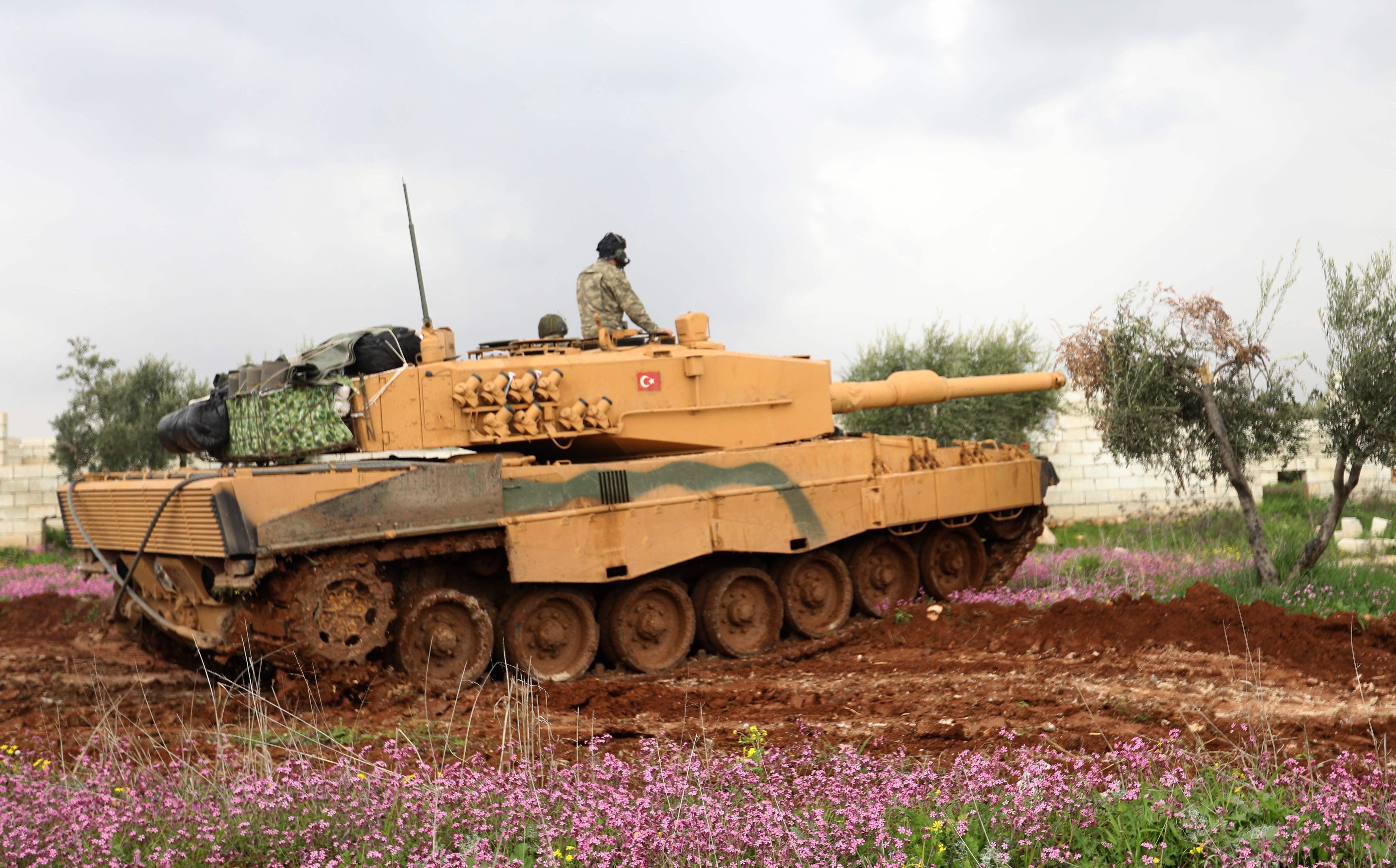 A Turkish tank on the outskirts of Jandaris town, southwestern Afrin, on Wednesday. Photo: Omar Haj Kadour/AFP
