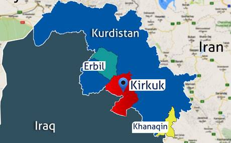 Image result for Kirkuk oil fields and the town of Khanaqin, map, iraq