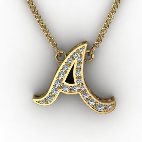 Gold and Diamond Letter Pendant