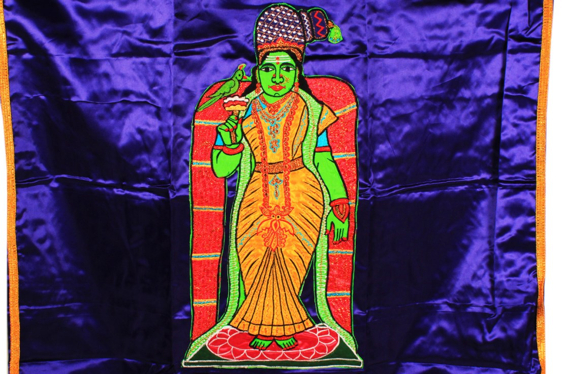 Temple Curtain Meenakshi Design Blue
