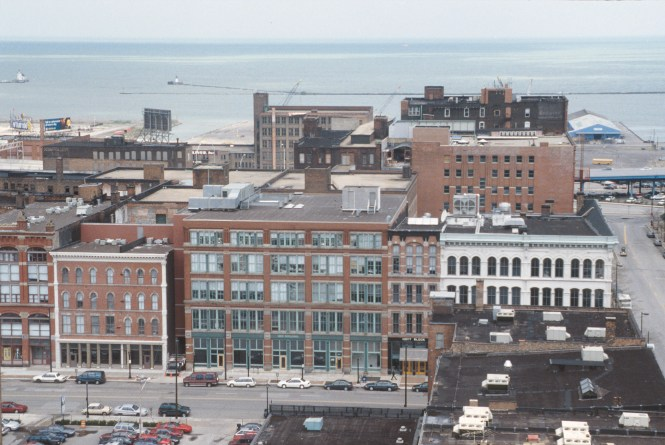 Aerial View Of Warehouses With Lake In Cleveland Historic