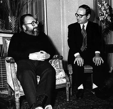 Morricone avec Sergio Leone dans les années 60.