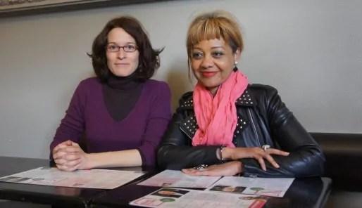 Emeline Baume et Odile Belinga, qui mèneront la liste de fusion de Gérard Collomb dans le 1er arrondissement. Le 26 mars 2014.