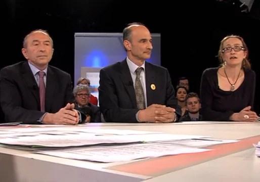 Gérard Collomb, Etienne Tête et Aline Guitar sur le plateau de TLM.