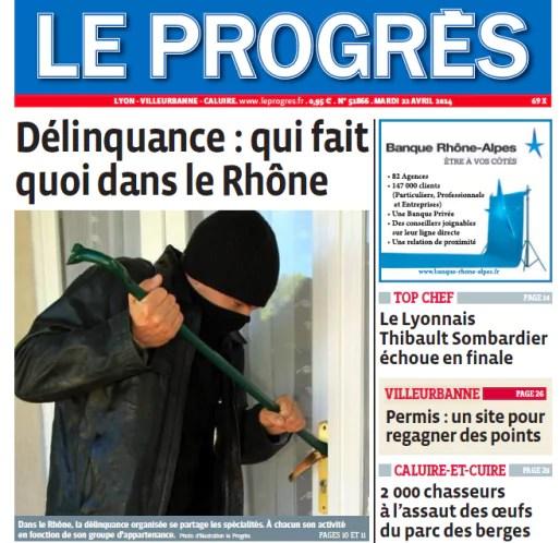 Le Une du quotidien régional Le Progrès ce mardi 22 avril 2014.